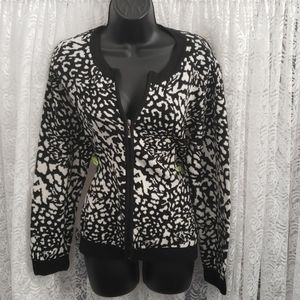 Black/White Leopard Zip Up Sweater